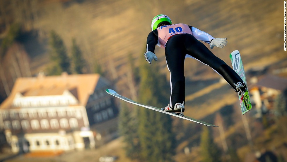Slovenia's Peter Prevc jumps Friday, March 14, at the FIS Ski-Flying World Championships in Harrachov, Czech Republic.