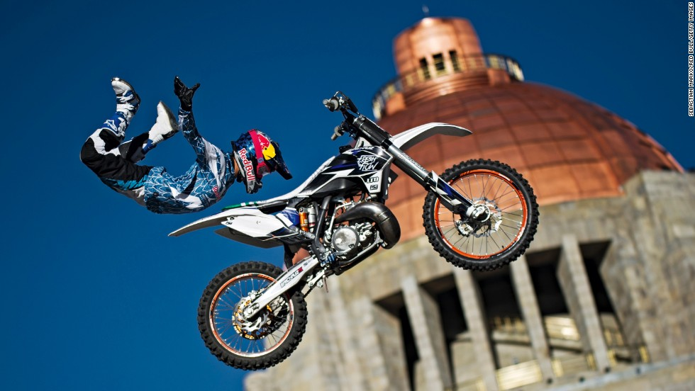 Erick Ruiz warms up for the season opener of the Red Bull X-Fighters World Tour on Tuesday, March 11, in Mexico City.