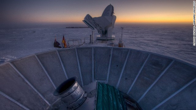 The BICEP2 telescope looks at polarization of light from 380,000 years after the Big Bang.