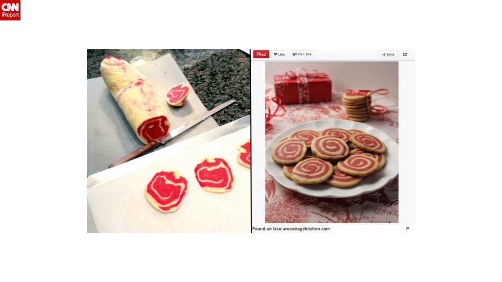 "Pinterest fail: Brockett was inspired by a Pinterest photo to make cinnamon pinwheel cookies for the holidays one year. ""Unfortunately, ours looked looked more like a slab of meat,"" she said. ""Even when sliced, the cookies looked more like they belonged in an Italian deli rather than on a plate."""