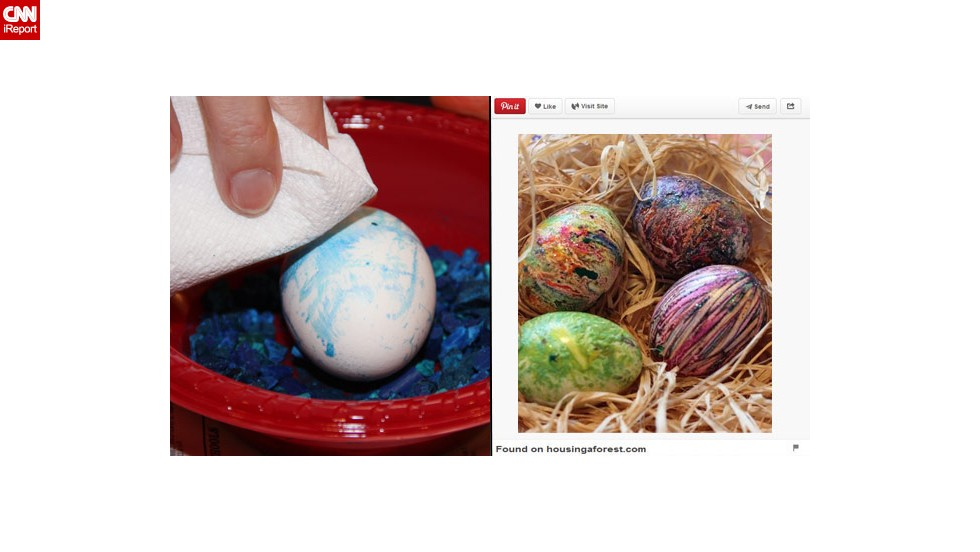 """Pinterest fail: It turns out that Brockett is not an """"egg-spert"""" when it comes to dying Easter eggs. """"In an attempt to step outside the box last year, I read about using crayon bits and melting them onto the egg. The problem was, in order to have the ground crayons melt onto the egg, the egg needed to be hot ... not exactly a good idea with small fingers."""""""