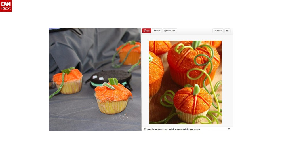 "For Halloween, Brockett wanted to make some cute and tasty Pinterest-inspired pumpkin patch cupcakes. ""They didn't rise and while I thought about compensating with 2 inches of icing, I decided that might not be the best thing to feed a party full of small children. They weren't necessarily pretty, but the kids found them fun and ate them readily."""