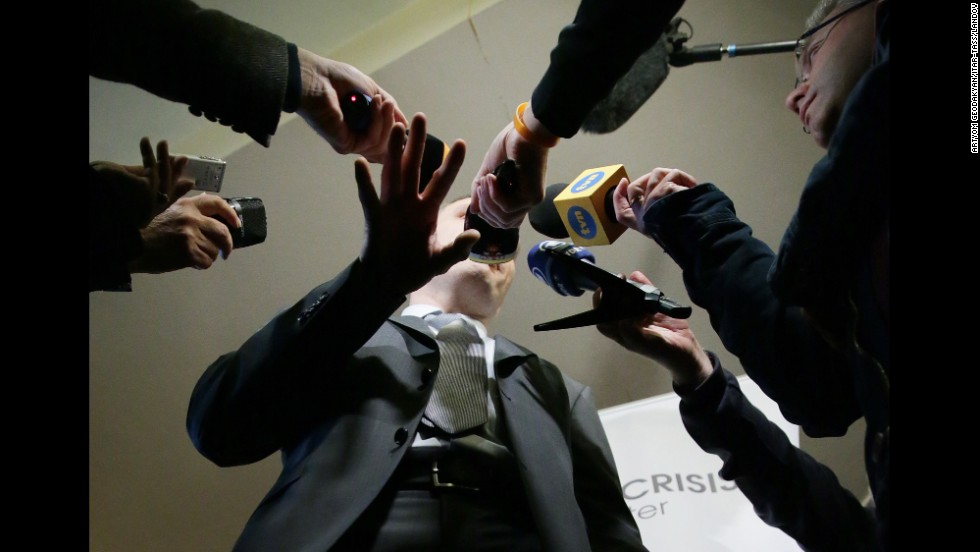Former boxer and Ukrainian politician Vitali Klitschko addresses reporters in Kiev, Ukraine, on March 17.