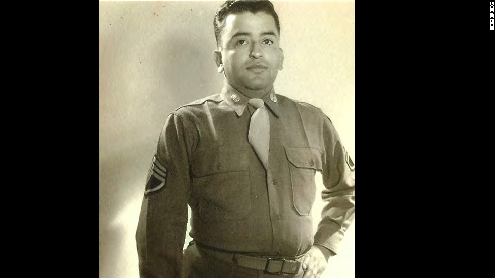 Sgt. Eduardo C. Gomez was recognized for heroic actions on September 3, 1950, at Tabu-dong, Korea, where his company was attacked while readying defensive positions. He maneuvered across open ground to take out a tank. Wounded, he refused medical care and manned his post where his weapon overheated and burned his hands. He stayed at his post, providing protective fire as the troops were ordered to withdraw.