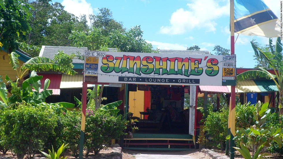 "Getting stung by a ""killer bee"" (or four) is a rite of passage in Nevis. Involving rum and honey, the ""killer bee"" cocktail is the most popular drink on the island, and one that locals will tell you is prepared properly only at Sunshine's."