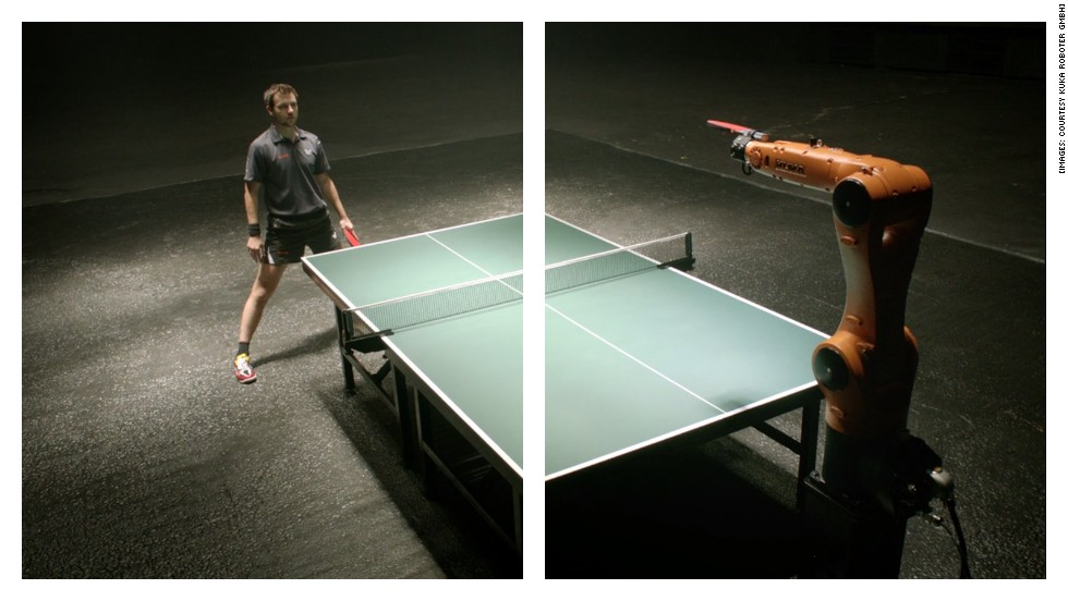 "<strong>ROUND ELEVEN: PING PONG</strong><br /><br />It doesn't get more dramatic than German table tennis champion Timo Boll taking on a robotic arm in <a href=""http://time.com/20506/watch-this-guy-beat-a-robot-at-ping-pong/"" target=""_blank"">this commercial</a> for engineering company KUKA, coming back from 6-0 to beat the machine which even seems a little sad to lose.<br /><br />Ok, so this is a fairly rigged battle. But the human still won. And as long as we keep creating the machines ourselves, we can make sure it stays that way.<br /><br />Or can we?<br /><br /><em><strong>FINAL SCORE: Machines 5, Man 7. MAN WINS!</em></strong><br /><br />[Images: Courtesy KUKA Roboter GmbH]"