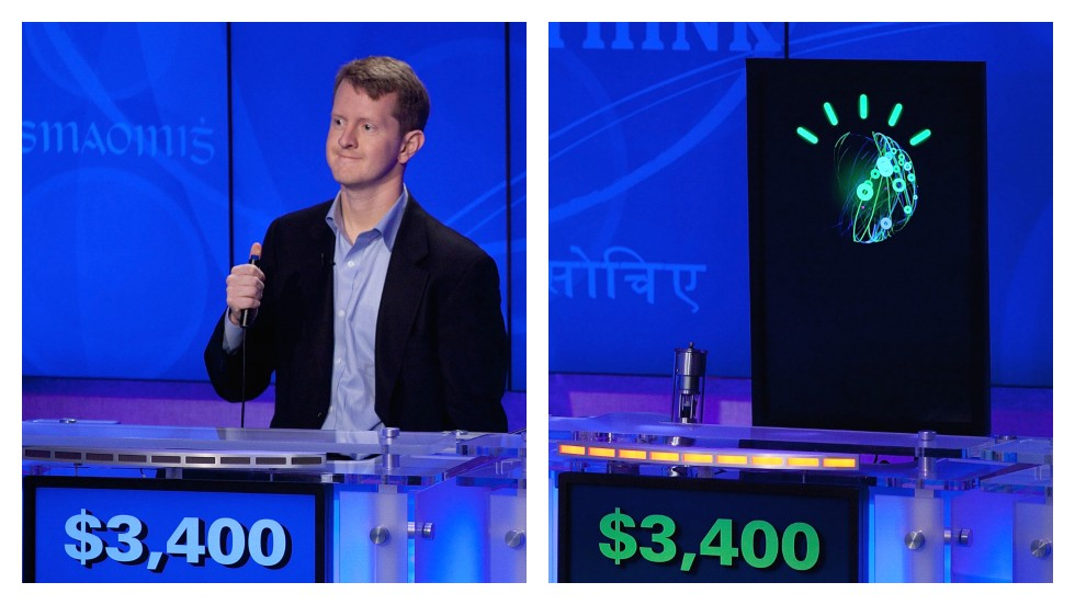 "<strong>ROUND FOUR: JEOPARDY</strong><br /><br />""I was pretty confident that I was going to win,"" <a href=""http://blog.ted.com/2013/04/05/how-did-supercomputer-watson-beat-jeopardy-champion-ken-jennings-experts-discuss/"" target=""_blank"">said Jeopardy's most winning contestant Ken Jennings</a>, about taking on IBM's supercomputer, called ""Watson,"" in 2011.<br /><br />""People don't realize how tough it is to write that kind of program that can read a clue in a natural language like English — to understand the puns, the red herrings, to unpack just the meaning of the clue. I thought, 'Yes I will come destroy the computer.'""<br /><br />Only, he didn't. This round goes to computers.<br /><br /><em><strong>SCORE: Machine 3, Man 2</em></strong><br /><br />[Images: Ben Hider/Getty Images/File]"