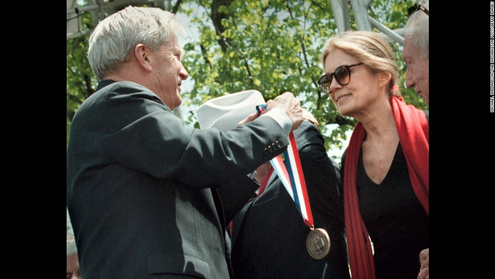 Librarian of Congress James Billington awards Steinem a Living Legend medal during the Library of Congress' 200th birthday party in 2011.