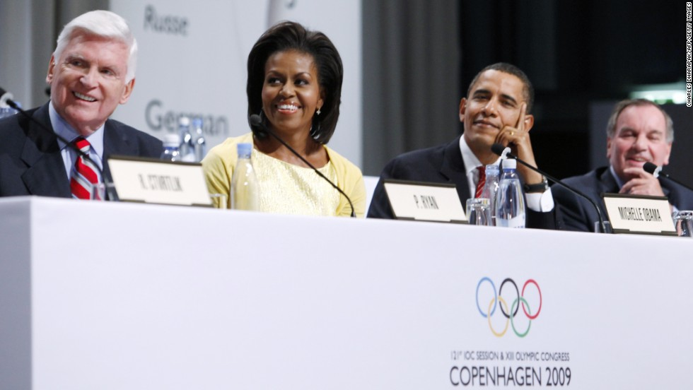 The first lady traveled to Copenhagen to represent the United States at the International Olympic Committee session in October 2009.