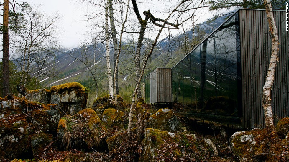 "<em>Juvet Landscape Hotel, Norway </em><br /><br />This unusual hotel capitalizes on its stunning location in the Norwegian wilderness. Built as a block structure, the building rests on a set of steel rods drilled into the rocks beneath. Creators, <a href=""http://www.jsa.no/"" target=""_blank"">Jensen & Skodvin Architects</a> left the breathtaking topography intact, with some walls made entirely of glass to give a view of the ever changing landscape beyond."