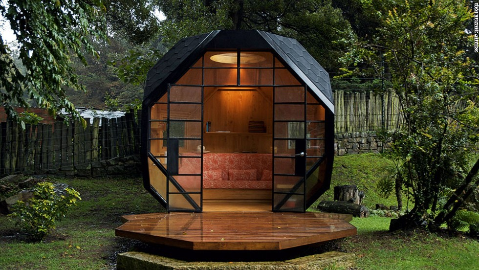 <em>Polyhedron Habitable, Colombia</em><br /><br />A perfect spot to relax and unwind, this geometric hideout in the back of a Bogota garden is based on a child's understanding of shapes. The pod has a built-in drawing area, and little windows on the side and on top, which let daylight and fresh air in.