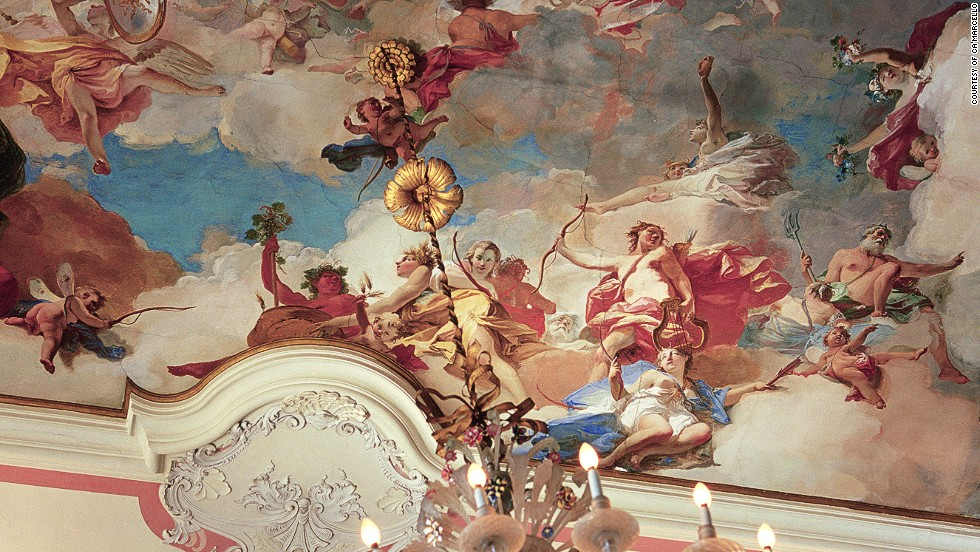 Ca'Marcello is awash in stunning 18th-century frescoes created by the Venetian painter Giambattista Crosato. Guests can tour the villa for a small fee, or rent an apartment on the property.