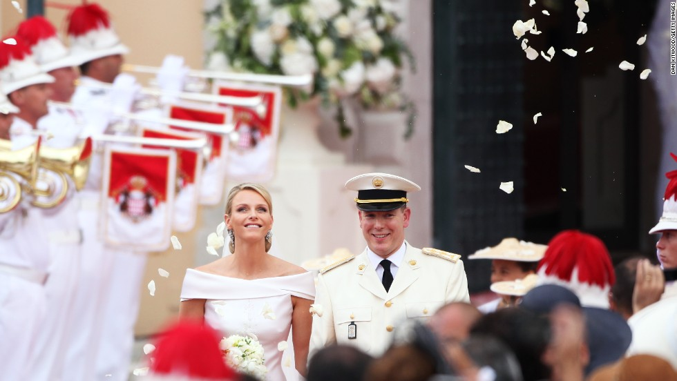 Princess Charlene of Monaco and Prince Albert II of Monaco leave the religious ceremony at the Prince's Palace on July 2, 2011 in Monaco. The Roman-Catholic ceremony follows the civil wedding which was held in the Throne Room of the Prince's Palace of Monaco on July 1.