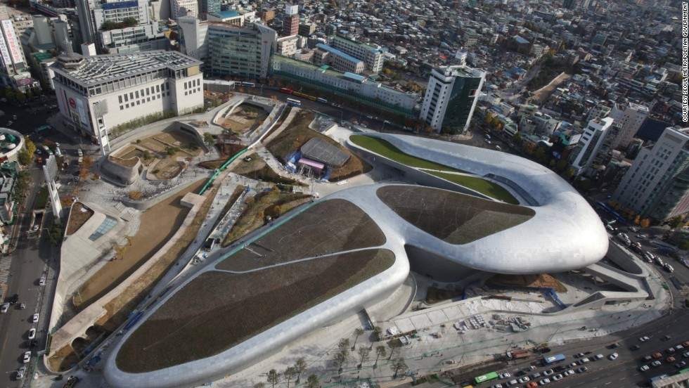 "Known for her futuristic, spaceship-like work, ""starchitect"" Zaha Hadid is behind the design of the Dongdaemun Design Plaza, Seoul's newest landmark."