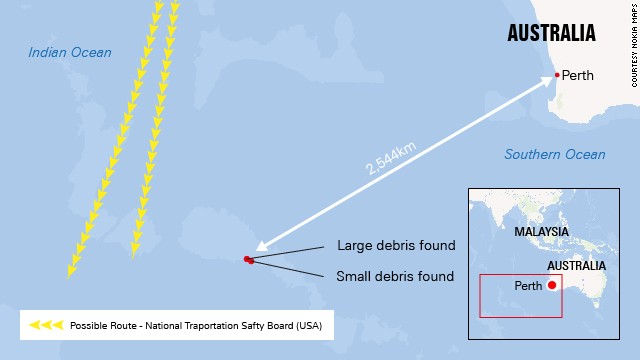 The two objects were found about 22 kilometers apart in the southern Indian Ocean.
