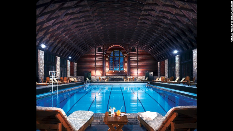 Fairmont Le Château Montebello in Quebec was built in 1930 as a retreat for the exclusive private Seigniory Club, and it has a clubby feel, right down to the impressive indoor pool.