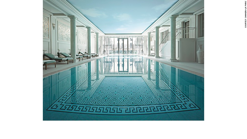 At the Shangri-La Paris, an elegant pool is tucked into the former residence of Napoleon Bonaparte's grandnephew, Prince Roland Bonaparte.