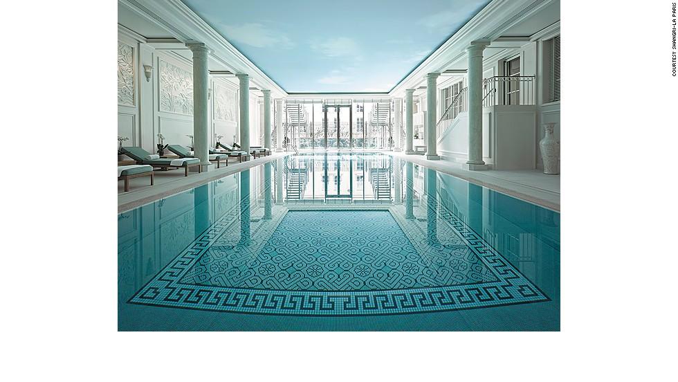At the Shangri-La Paris, an elegant pool is tucked into the former residence of Napoleon Bonaparte's grandnephew, Prince Roland Bonaparte.