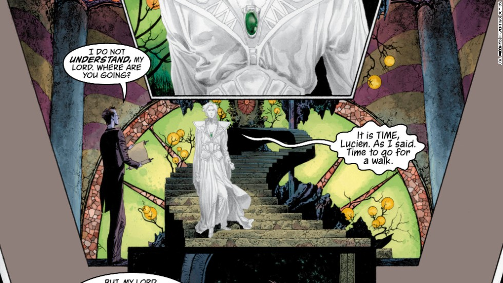 Page 1. In the story Daniel, the ghostly figure here, has the power to enter others' dreams. Daniel is otherwise known as Dream, who has control over the dreams of everyone and everything. He is one of the Endless, who include the characters Death, Destiny, Destruction, Desire, Delirium and Despair.