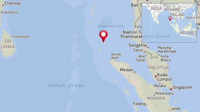 The approximate site of the earthquake that struck in the sea off India's Andaman and Nicobar Islands.