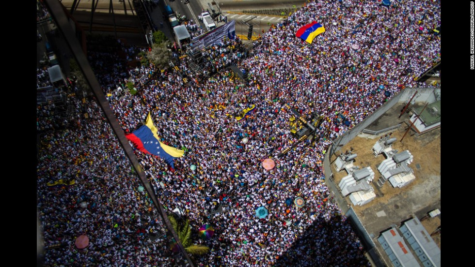 "Thousands fill the streets of Caracas on Saturday, March 22, during an anti-government protest. Meanwhile, a crowd of pro-government students marched against what they called ""fascist violence."""