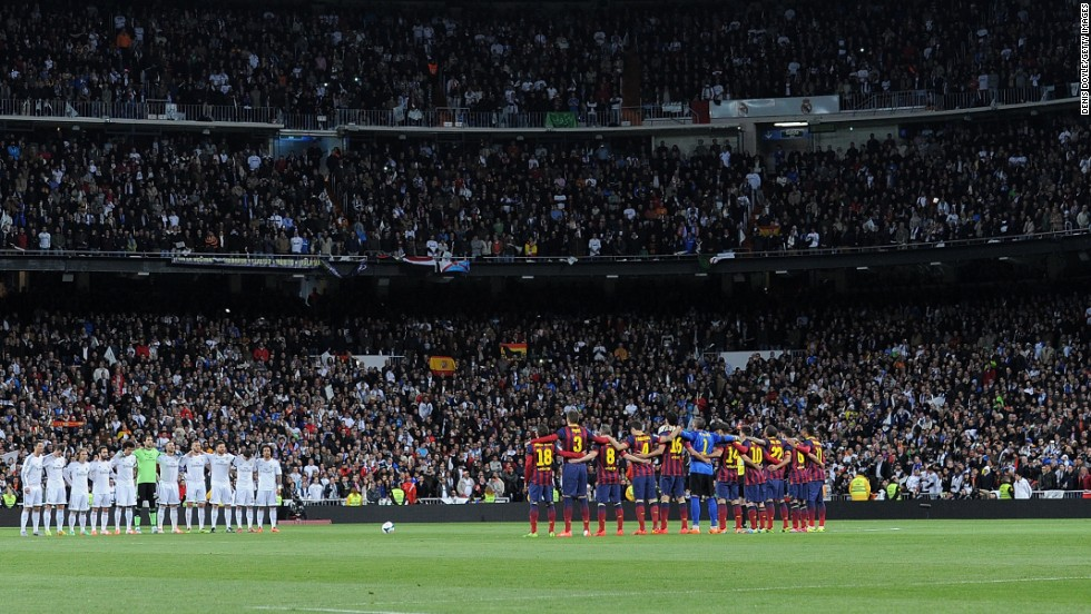 "Real Madrid and Barcelona line up ahead of ""El Clasico"", one of the most fiercely-contested matches in world football."