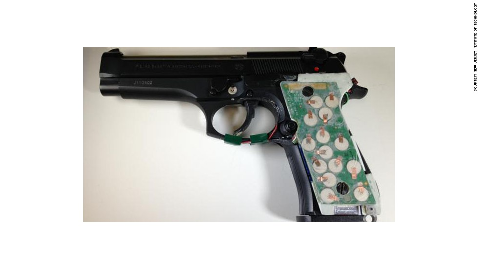 Researchers at New Jersey Institute of Technology have been developing biometric designs including this prototype of a Dynamic Grip Recognition system. Sensors attach to existing handguns and identify the user from their grip and hand movements.