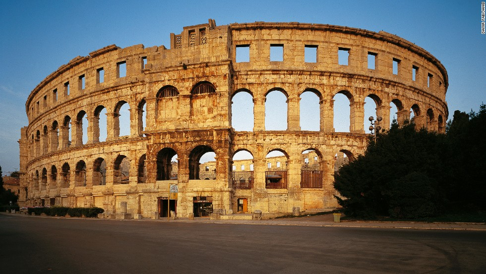 "<strong>Pula Arena, Pula</strong><br />This Italian-style amphitheater sits northeast of the city of Pula. Construction of the arena is believed to have begun during Roman Emperor Augustus' reign (31 B.C.-14 A.D.) and would have accommodated about 23,000 spectators.<em><br /><a href=""http://www.ami-pula.hr/en/"" target=""_blank"">Pula Arena</em></a><em>, Scalierova ulica 30, Pula; +385 52 351 333; entry from $7/adult and $3.50/student </em>"