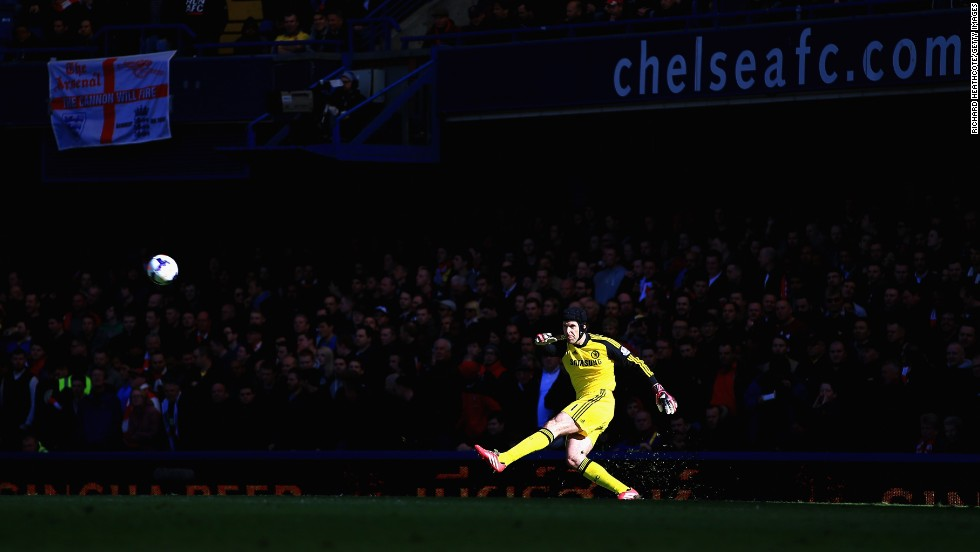 Chelsea goalkeeper Petr Cech takes a goal kick during the English Premier League match against Arsenal on Saturday, March 22, in London.