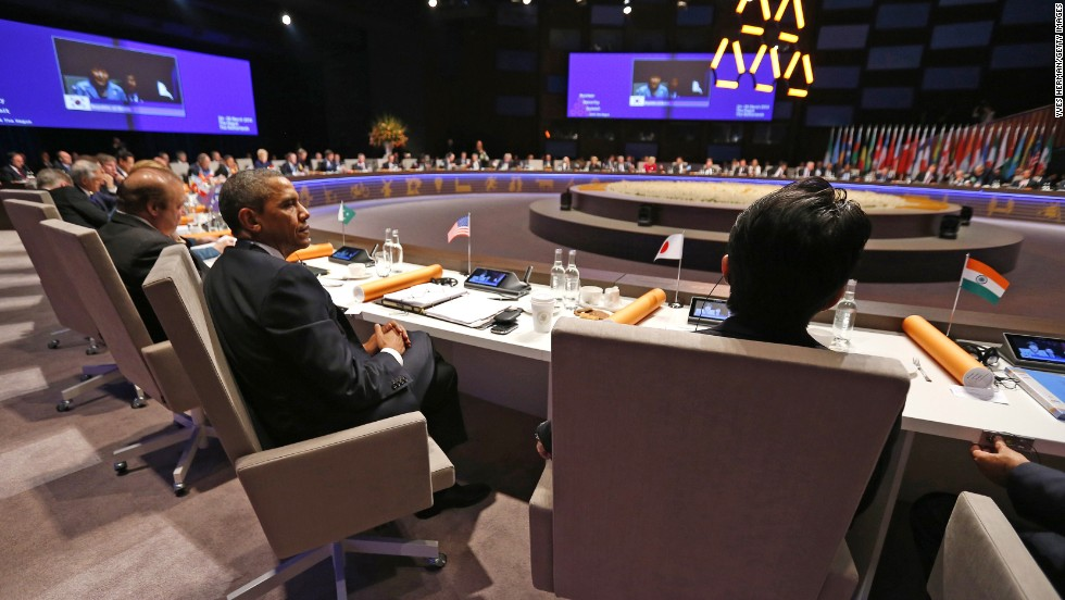 Obama attends the opening session of the Nuclear Security Summit on March 24.
