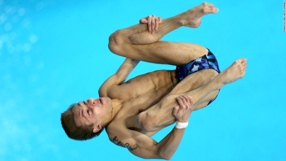 Russian diver Victor Minibaev competes in the 10-meter platform during the Diving World Series in Dubai, United Arab Emirates, on Saturday, March 22.