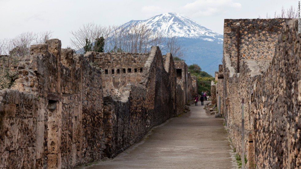 The eruption of the volcano Vesuvius on August 24, A.D. 79, caught the ancient town of Pompeii (now part of Italy) off-guard.
