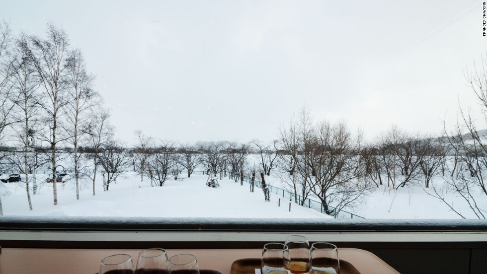 Inside the tasting room at the end of the Nikka Yoichi tour visitors can sip samples while enjoying the serene view.