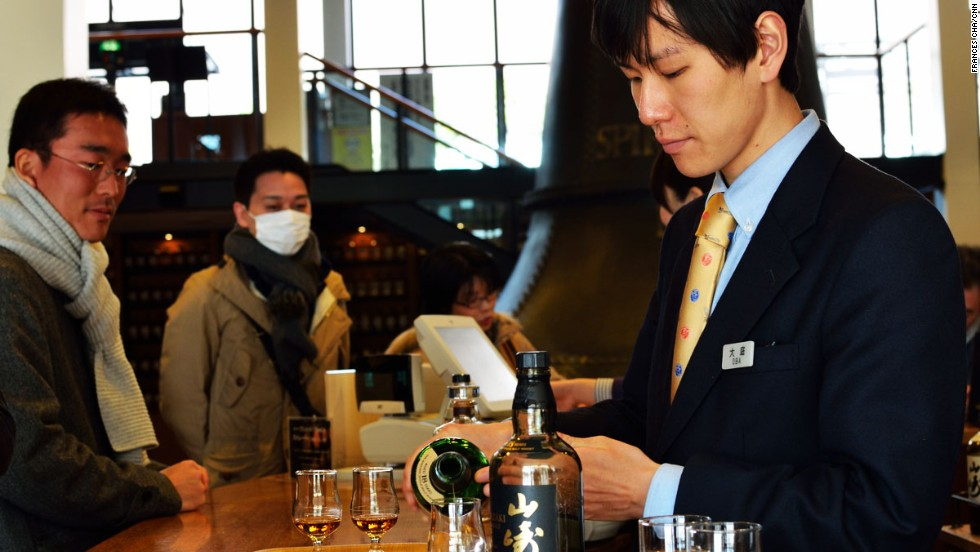 In the bar, samples start from ¥100 ($1). The bar, tables and chairs are made from old whiskey barrels.