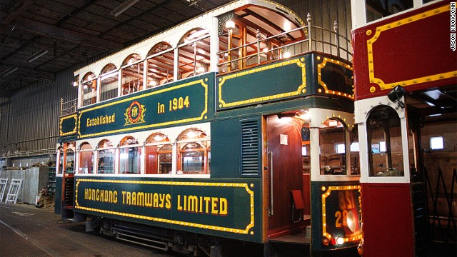 One of two 'party trams' awaiting hire.