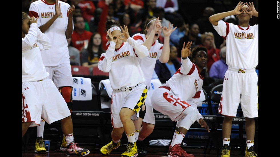 Members of the Maryland women's basketball team celebrate a 3-pointer during their NCAA Tournament game against Army on Sunday, March 23.