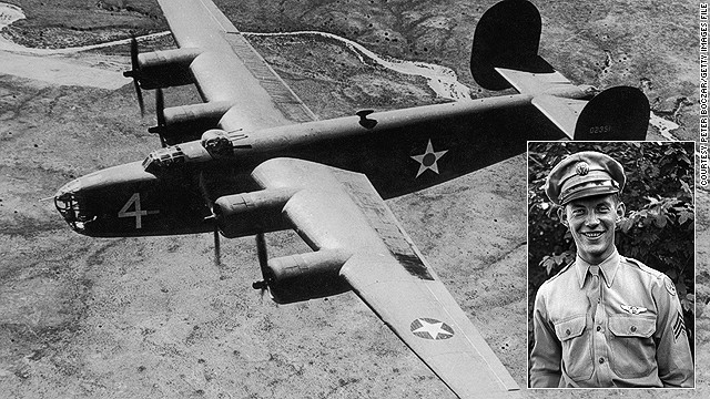 Staff Sergeant Larry Grasha and a file image of a B-24 Liberator bomber. Grasha's B-24 plane and its eight crew disappeared in 1944.