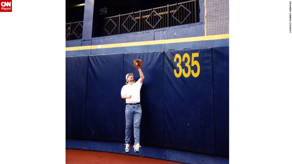 <strong>Three Rivers Stadium:</strong> Ticket-holders were allowed to go on the field before the game. Ondrovic and his pals played catch on the major league field, a highlight of their 25-year tour.