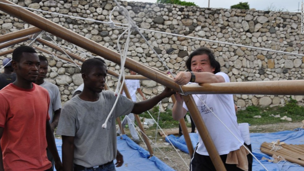 Ban says that winning the Pritzker Prize will not distract him from his humanitarian work. He insists on visiting disaster zones to see the damage firsthand. In this photo, Ban is seen helping construct paper shelters in Haiti following the devastating earthquake of 2010.