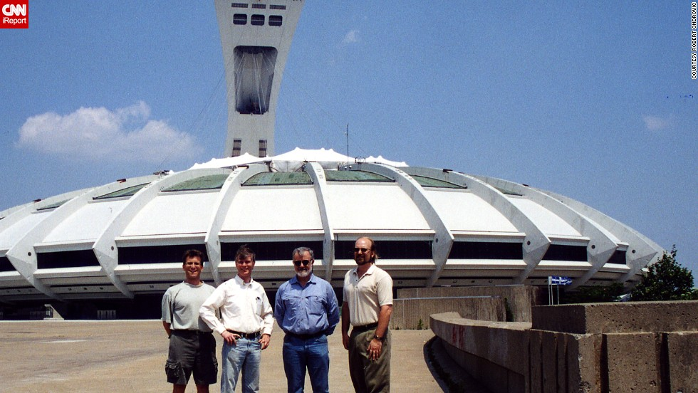 "<strong>Olympic Stadium (2001): </strong>The spaceship-looking building in Montreal was often mocked, and not just for its retractable roof that had all kinds of problems. Built for the 1976 Summer Olympics, the stadium served as the home of the Montreal Expos until 2004, when the team moved to Washington and became the Nationals. ""We even experienced a blackout and it was no big deal because there was no one at the game,"" said Rich Hauptschein, far left, another member of the tour."