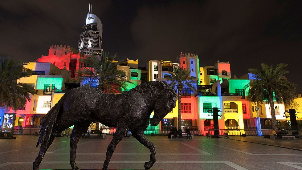Lighting specialist Daniel Knipper was inspired by painters Pablo Picasso and Piet Mondrian to project a fresco-style canvas of flowing colors onto Dubai's Old Town.