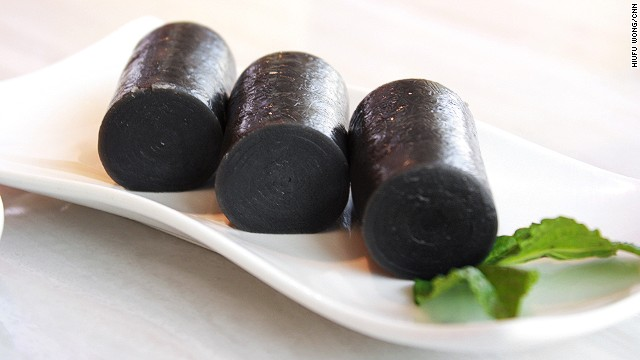 "Black sesame film rice roll, or ""fay lum."""