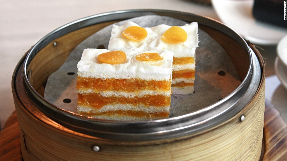 In this unique dish, part of Tsui Hang VIllage's retro dim sum menu, layers of sweet and savory custard and yolk are combined with bao (Chinese-style bun dough). The whole thing is steamed, resulting in a simple yet satisfying little cake, called daan wong chin chang gou.