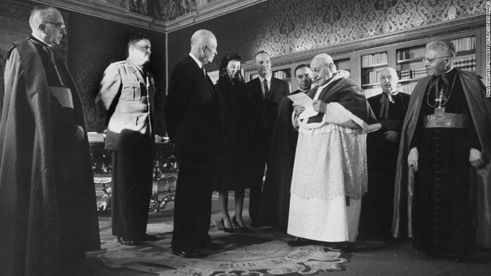 President Dwight D. Eisenhower, third from left, meets with Pope John XXIII at the Vatican in 1959.
