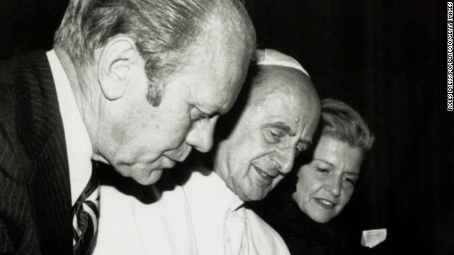 President Gerald Ford and first lady Betty Ford meet with Pope Paul VI at the Vatican in 1975.