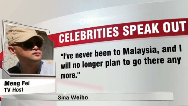 Chinese celebs speak out against Malaysia