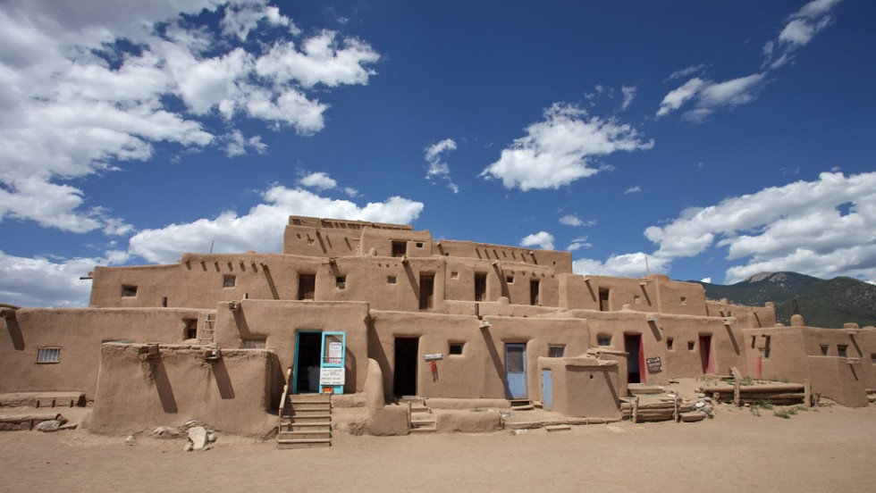 "The Santa Fe/Taos Loop in New Mexico will take you to the <a href=""http://www.taospueblo.com"" target=""_blank"">Taos Pueblo</a> compound, built before 1400 and one of the oldest continuously inhabited communities in America."