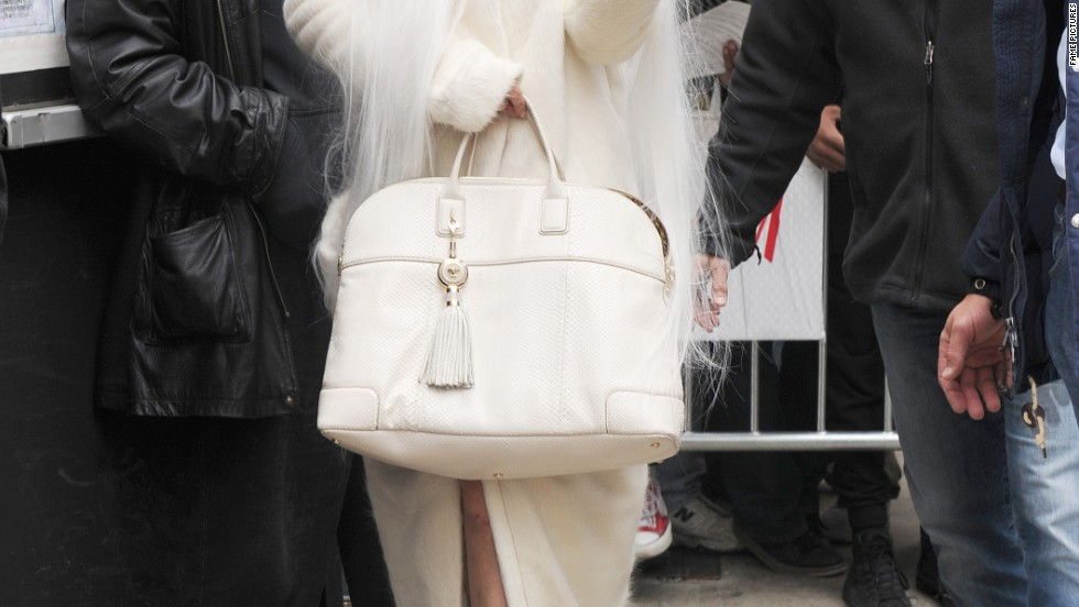 Lady Gaga tries out another outrageous look on March 25.