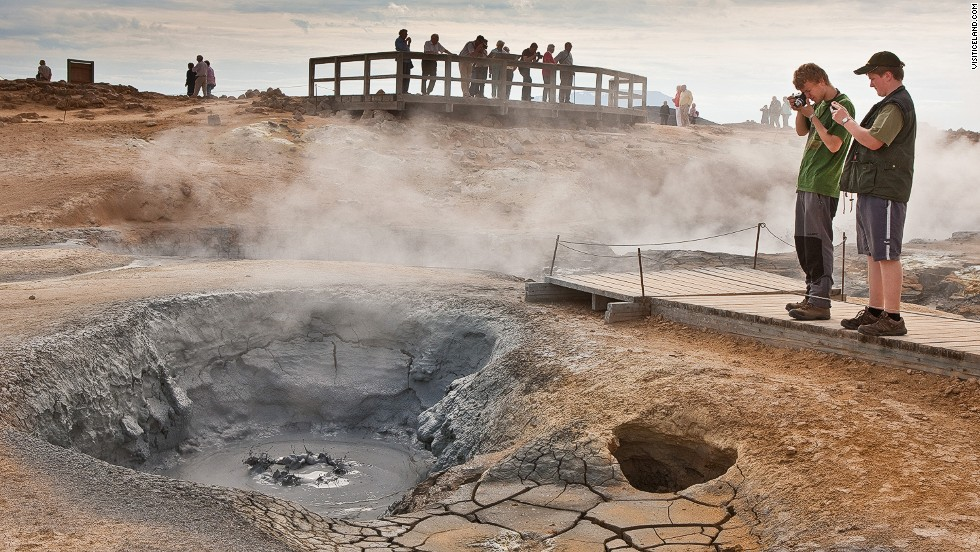 "Iceland's volcanic landscape is a raging source of unusual sounds, and noxious fumes. <a href=""http://www.youtube.com/watch?v=xH8CDS_fyDc"" target=""_blank"">Hear Hverir's bubbling mud pots here</a>."