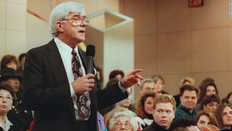 "In 1999, talk-show host Phil Donahue, whose daytime program paved the way for many to follow, told CNN's Larry King that he wanted to put <a href=""http://nypost.com/1999/11/25/donahue-wants-to-show-a-live-killing/"" target=""_blank"">a live execution on air</a>. He believed it would ""provoke discussion,"" but given that people throughout history had gathered to watch hangings, lynchings and beheadings as entertainment, he may have found that ""death of the week,"" as William Holden calls it in the beginning of ""Network,"" was more a ratings winner."